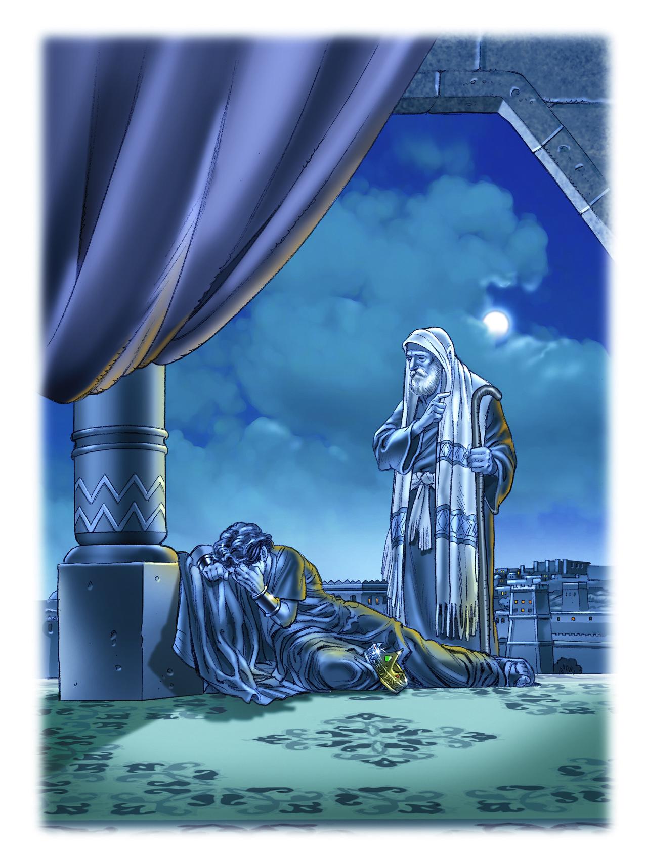 Rei David sendo repreendido pelo profeta Natã.